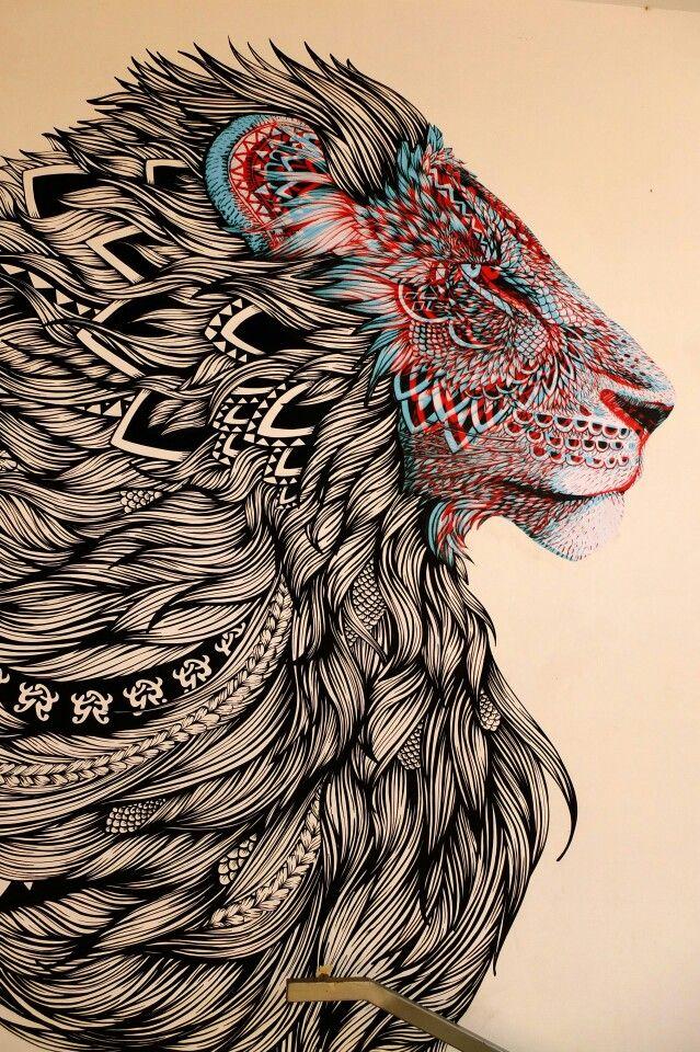 Zentangle Lion Street Art Paris 19 rue d