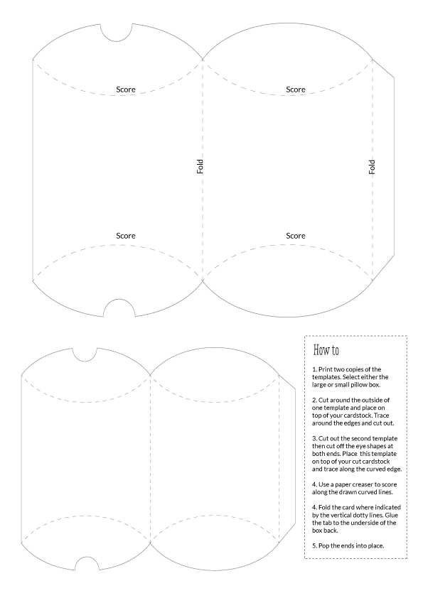 Pillow Box Templates Large And Small Templates Boxes