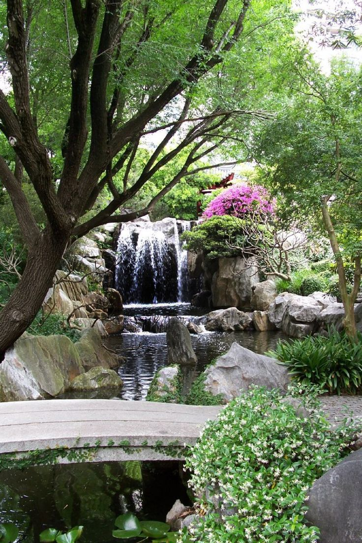 Waterfall Combined With Colorful Flower And Plants For