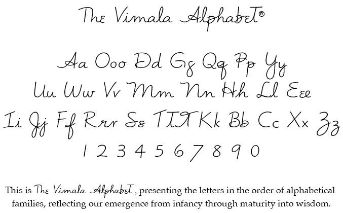 Vimala Alphabet In Sacred Order Vimala Alphabet Pinterest Alphabet