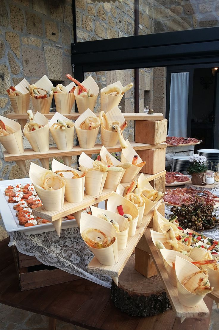Great way to display finger foods at your wedding aperitif