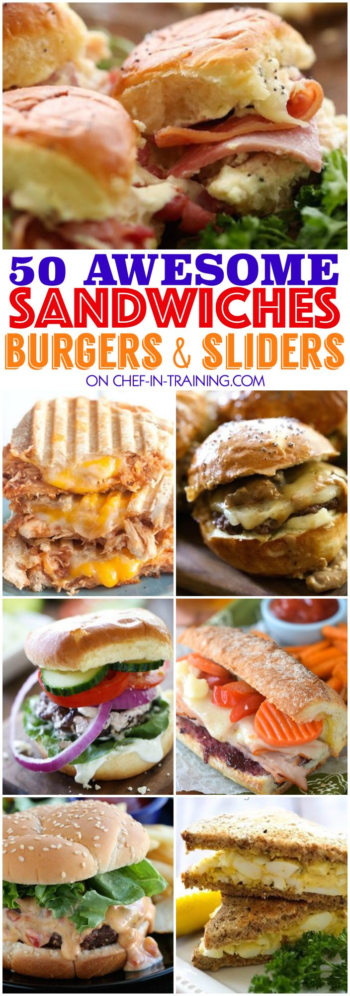 50 Awesome Sandwiches, Burgers and Sliders…. this list is the perfect GO TO for spring and summer! So many yummy unique and