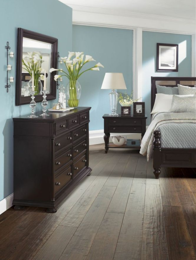 Find This Pin And More On Home Decor Cool Bedroom With Dark Brown Floors Or Black Furniture