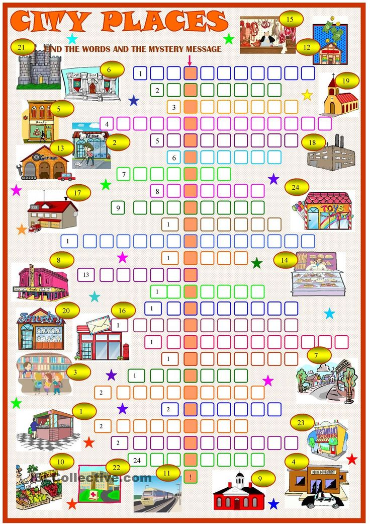 City placescrossword puzzle with key. ESL worksheet of