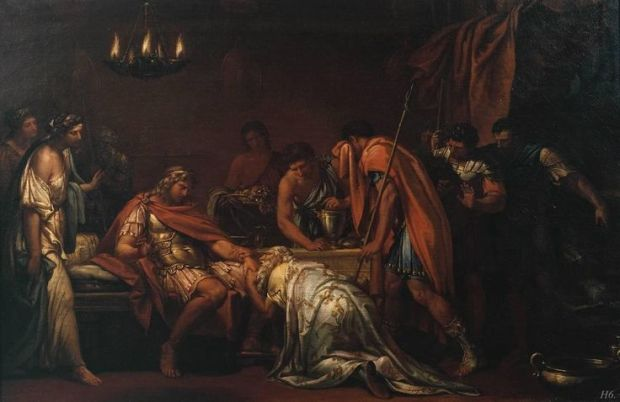 Priam pleading with Achilles for the body of Hector. 1775. Gavin Hamilton.: