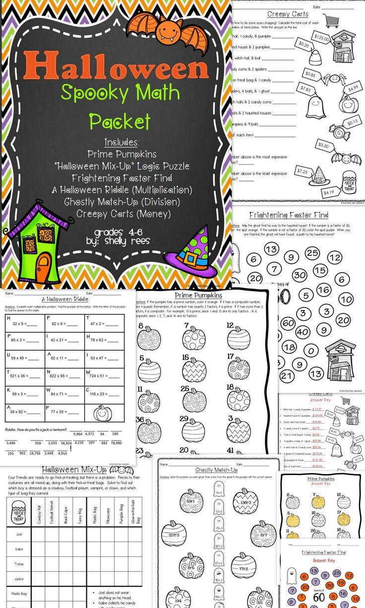 Halloween Math Packet Multiplication, Division, Factors