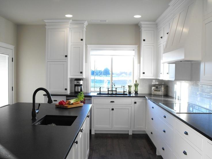 Greige Kitchen Cabinets With Black Countertops Novocom Top