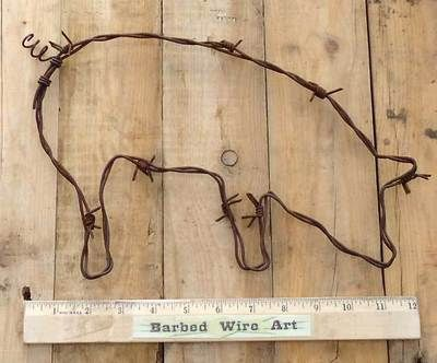 Farm Pig Folk Kitchen Wall Decor Cow Rodeo Bull Sculpture by Barbed Wire Art | eBay