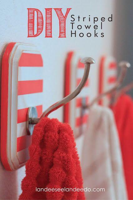 DIY Striped Towel Hooks For the Girls Bathroom. Make 4 or 5 for robes, towels,