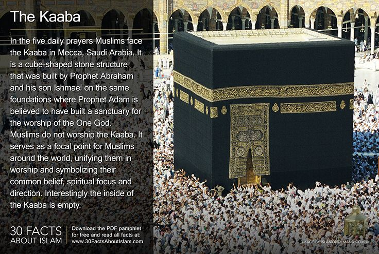In the 5 daily prayers Muslims face the Kaaba in Mecca. It