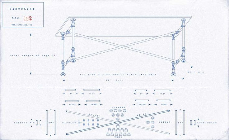 A set of plans for a work table made of cast iron pipe