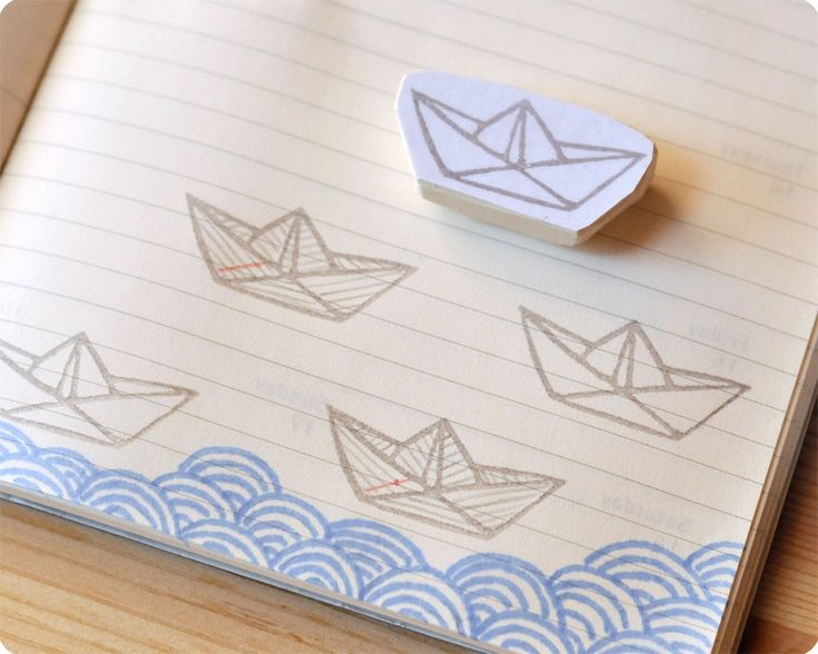 paper boat hand carved rubber stamp – MemiTheRainbow