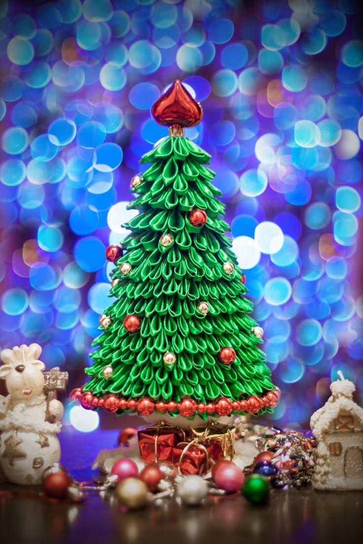 DIY Kanzashi Christmas tree
