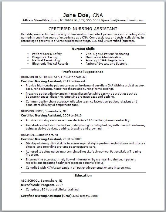 Best Resume Cna No Experience Http Jobresumesample Com