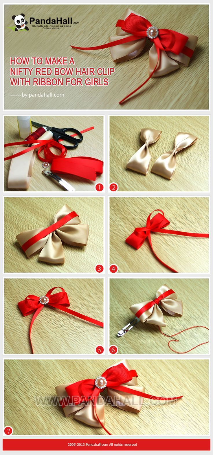 DIY How To Make A Nifty Red Bow Hair Clip With Ribbon For