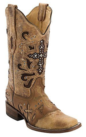 Corral Womens Antique Saddle w/ Stud Cross Square Toe Western Boot | Cavenders P