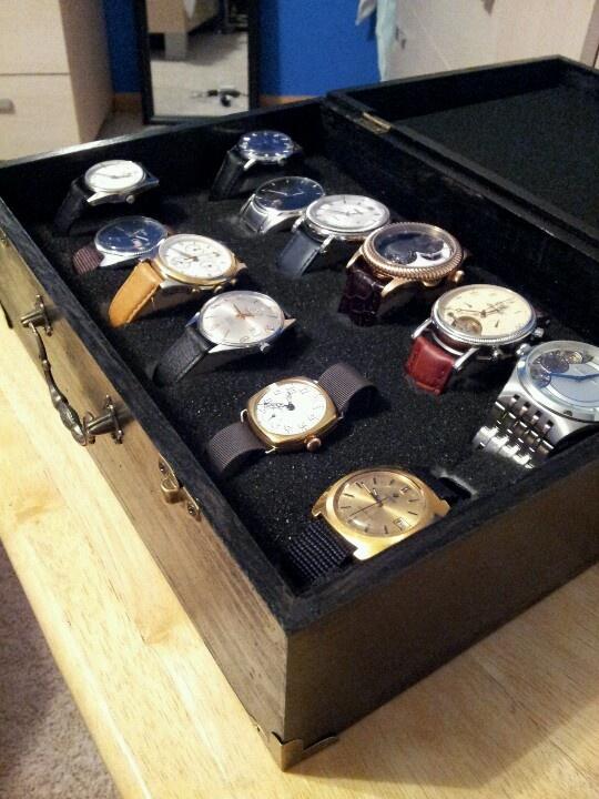 Diy watch case 13 wooden box from hobby lobby, flat black