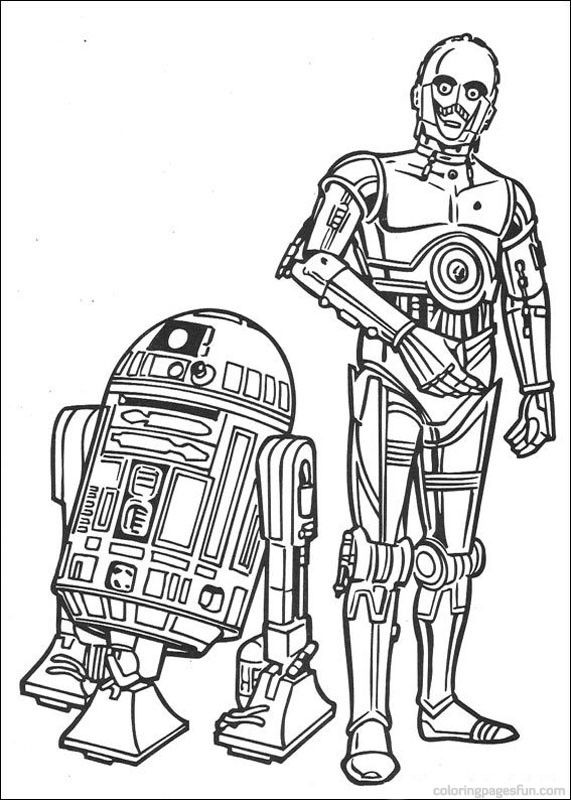 star wars r2d2 and c3po  colouring pages for kids