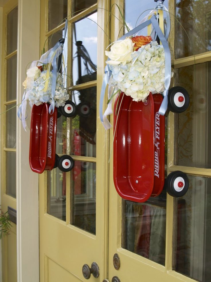 Red Wagon Themed Baby Shower Wreaths Front Door