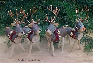 reindeer ornaments for Christmas gifts. Logs Reindeer, Christmas ...