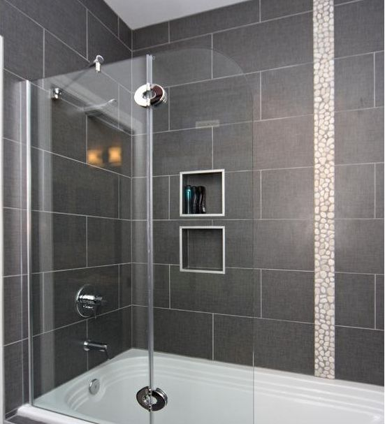 12 X 24 Tile On Bathtub Shower Surround Bathroom Guest Pinterest Tiles For Bathrooms Grey