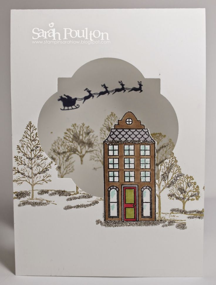 Stampin Sarah!: Lovely as a Tree meets Holiday Home Christmas Card using Stampin Up! products