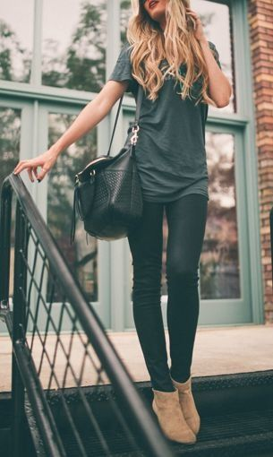 Monochromatic with cute booties #besthandbagsever