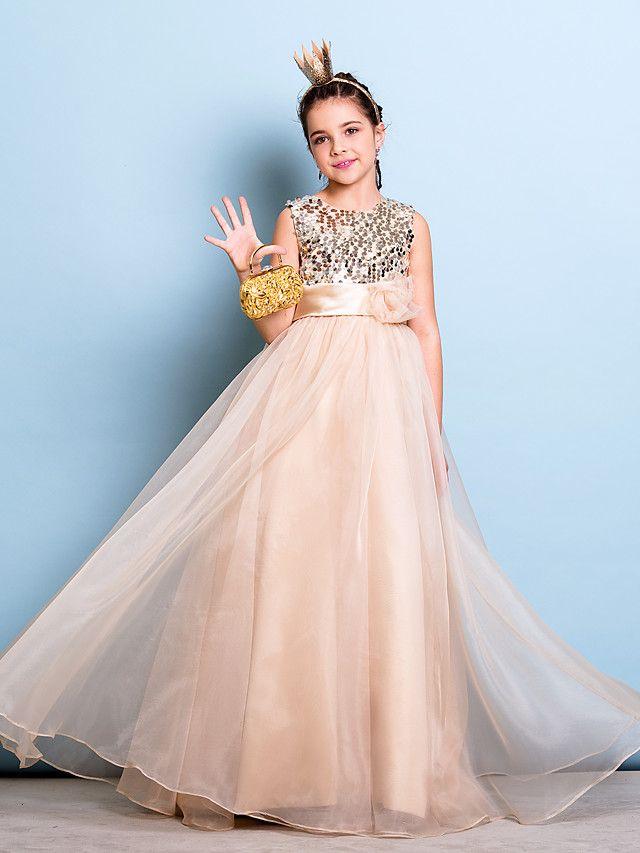 Lanting Bride Floor Length Organza Sequined Junior