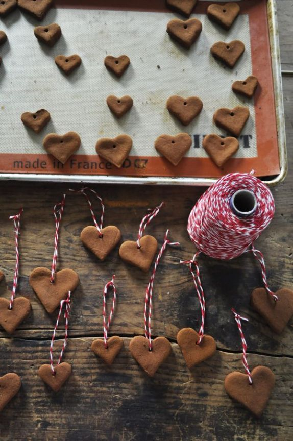 These cinnamon-applesauce heart ornaments aren't edible, but they smell fantastic. | 33 Adorable And Creative DIY Ornaments: