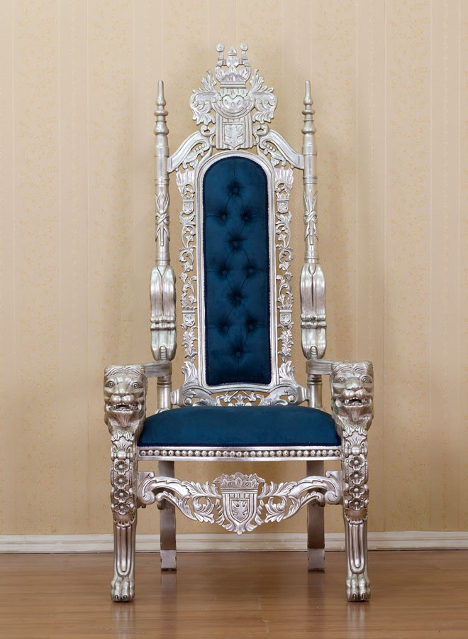 SILVER LION KING THRONE CHAIR BLUE UPHOLSTERY660 x 900