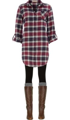 Long plaid boyfriend shirt, leggings, knee socks and boots. Nice Fall weekend outfit.: