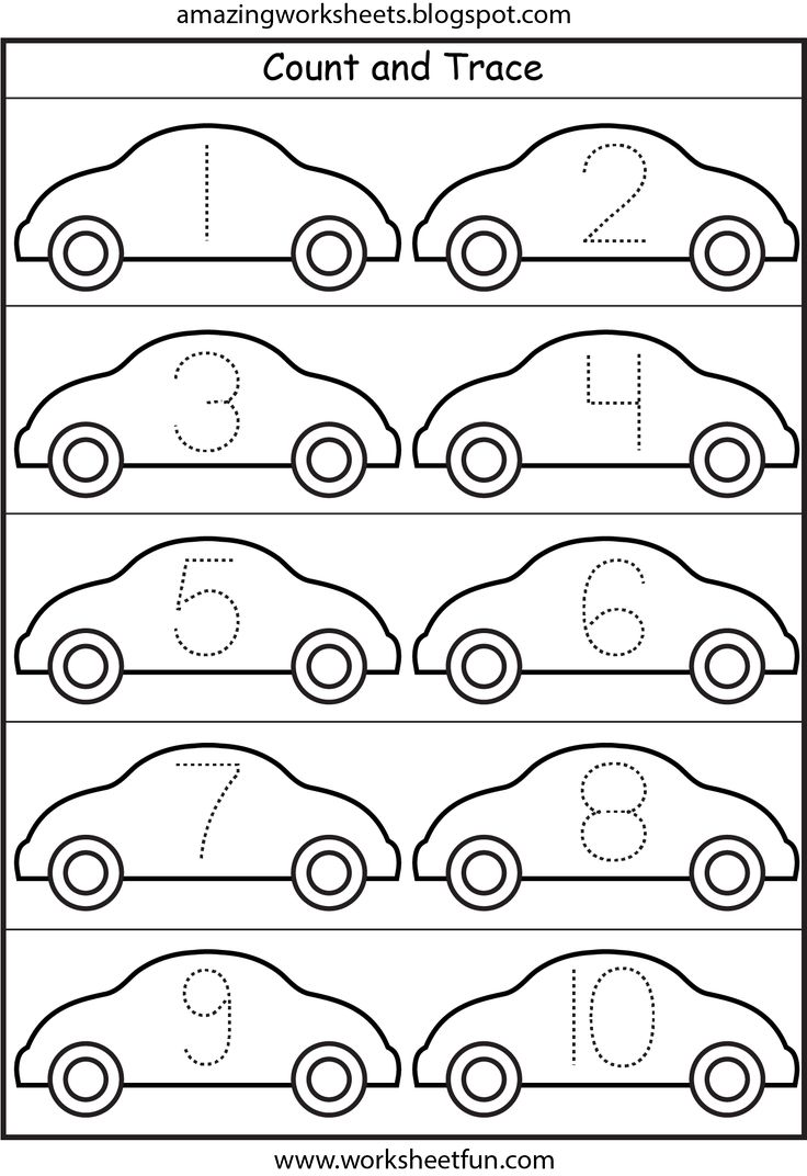 LOTS of worksheets for all themes////Cars Number Tracing