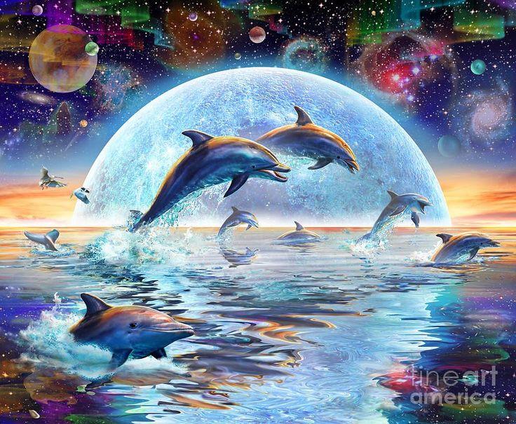 Dolphins By Moonlight Moonlight and Digital art