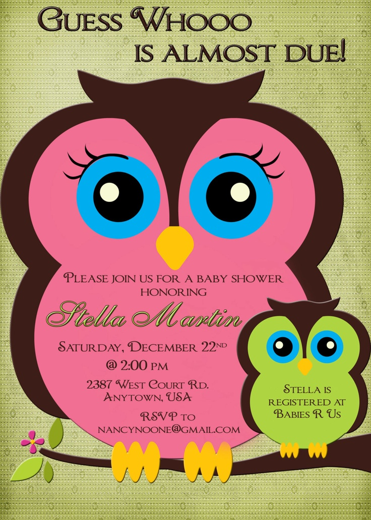 Owl Baby Shower Invitation Boy Or Girl Pink And Green Mom And Baby Owl Custom Printable 1300