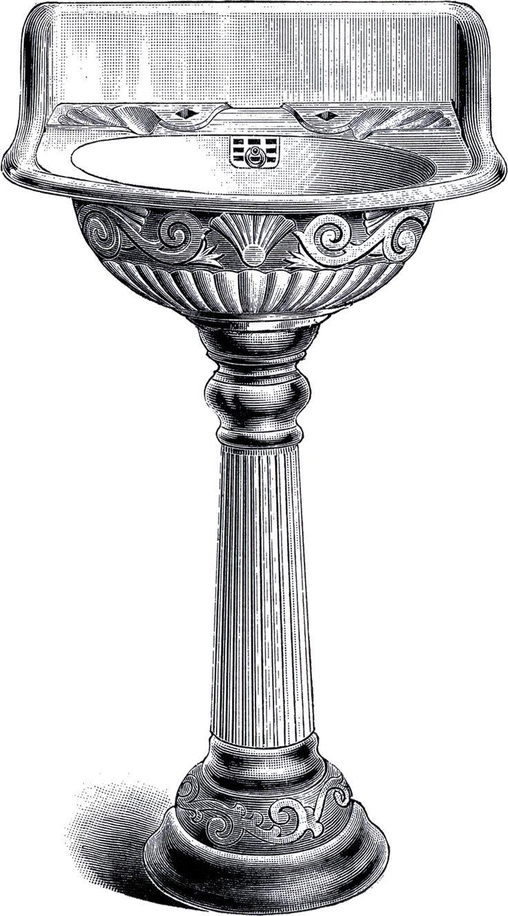 Vintage Pedestal Sink Clip Art Vintage Style Pedestal And Powder