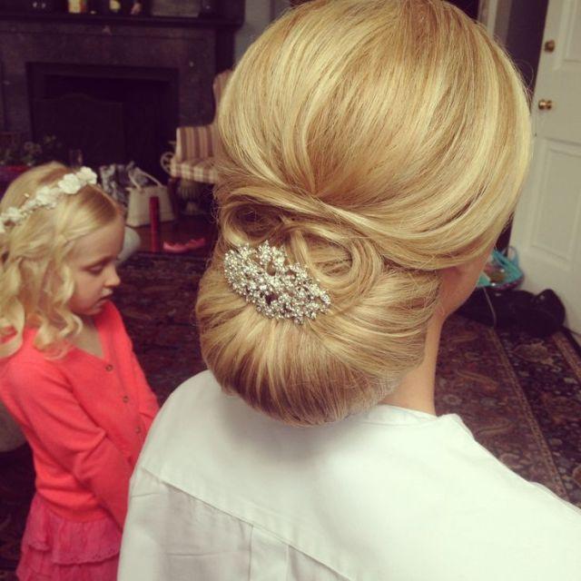 Smooth chignon classic  wedding  hair  wedding  hairstyle