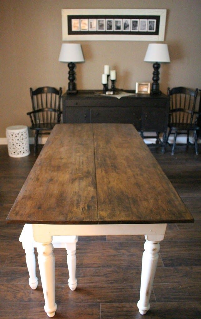 White Table With Wood Top Refinishing An Old Farmhouse