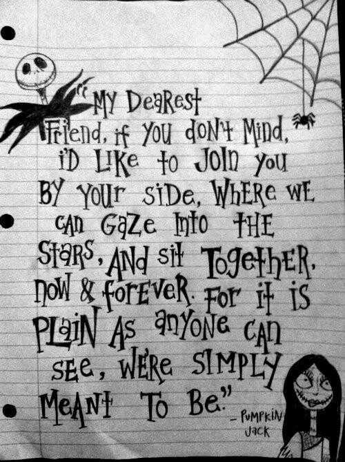 Jack Skellington Letter to Sally Jack Skellington