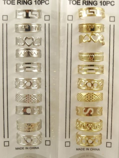 Set of 20 Assorted Gold & Silver Tone Toe Rings