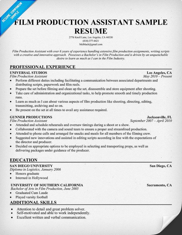film production resume resumecompanion com resume samples across