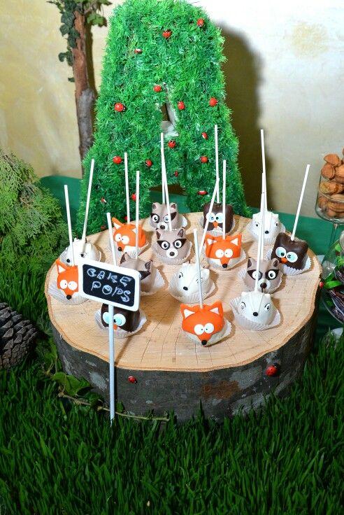 Woodland Theme Pop Cakes Fox Racoon Deer Owl Areg S
