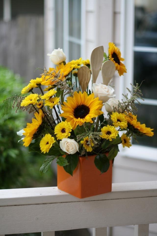 Sunflower Kitchen Utensils Arrangement Flowers Pinterest Sunflower Kitchen Kitchen