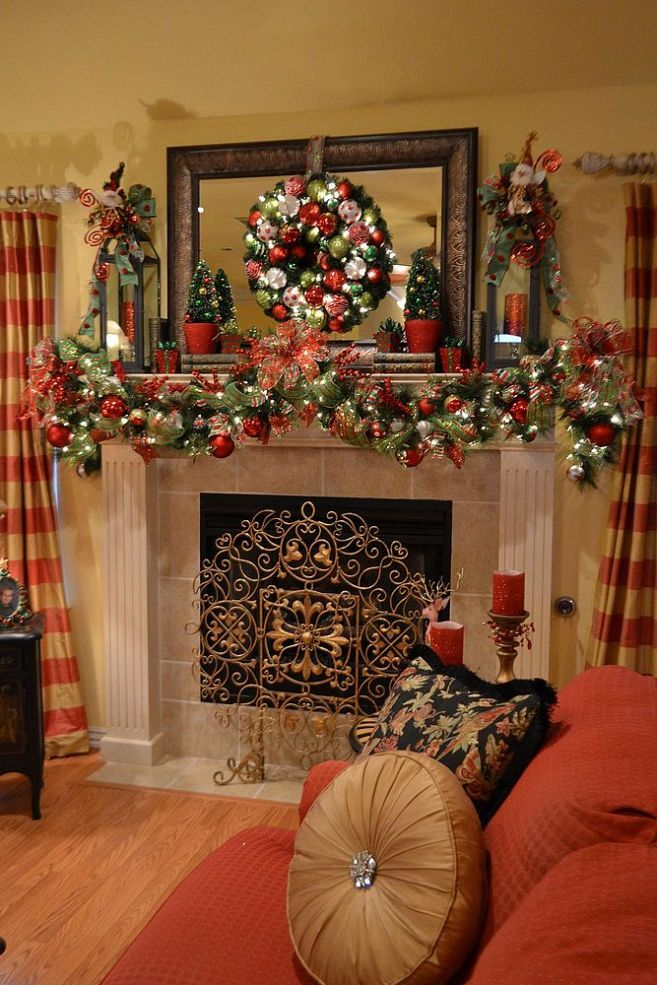 Christmas Mantle 2013 Christmas mantles, Fireplaces and