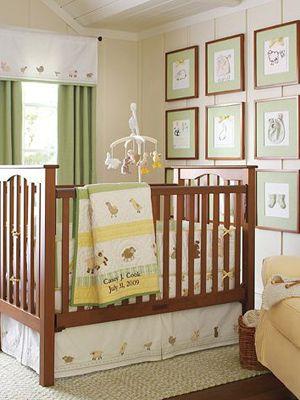 Gender Neutral Nurseries – Nursery Ideas – like the grid display of frames w/bab
