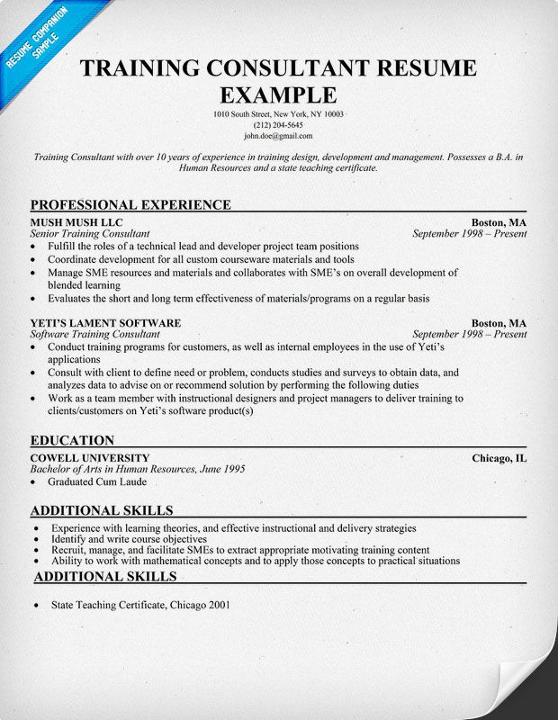 training consultants resume and resume examples on pinterest