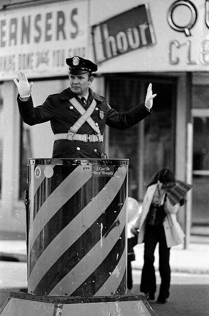 Policeman Directs Traffic In Somerville Ma In 1975