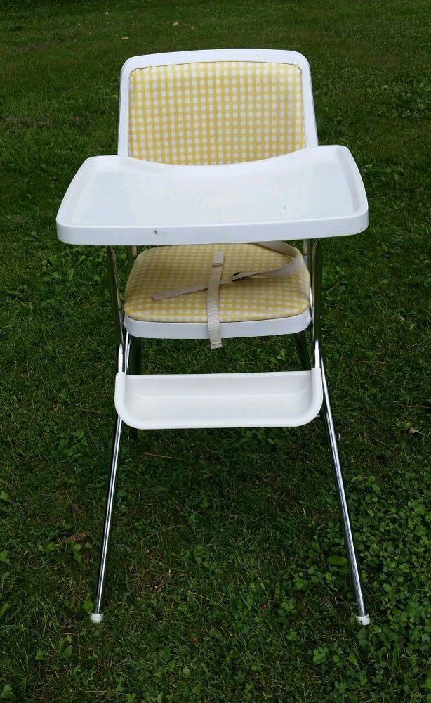 Vintage COSCO Metal High Chair With Chrome & Checkered