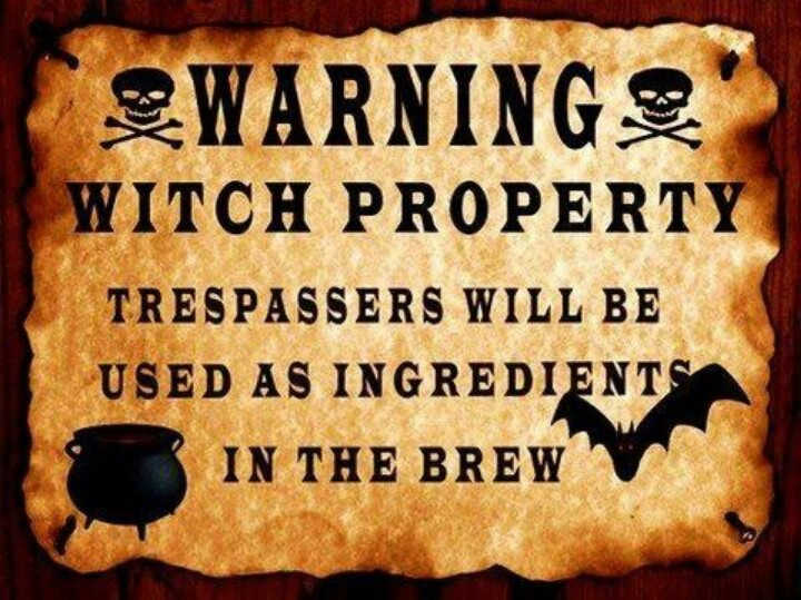 WARNING WITCH PROPERTY Trespassers Will Be Used As