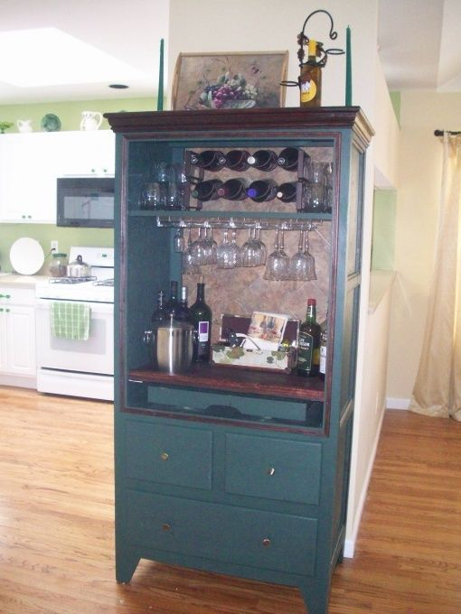 Convert Old Tv Stand Into Wine Rack Bar Decorating