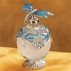 Dragonfly Jeweled Perfume Bottle _ A gorgeous Jeweled perfume bottle that can decorate your room and add it even more style. The